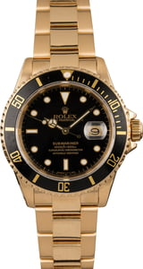 Pre Owned Rolex Submariner 16618 Yellow Gold