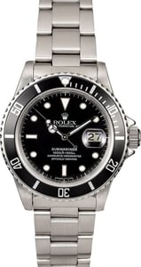 Certified Rolex Submariner 16800 Stainless Steel