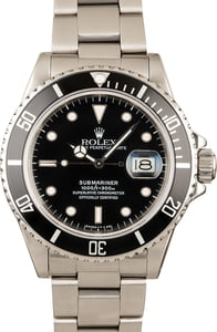 Pre-Owned Rolex Submariner 16800 Black Timing Bezel
