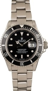 Pre Owned Rolex Submariner 168000 Black Dial