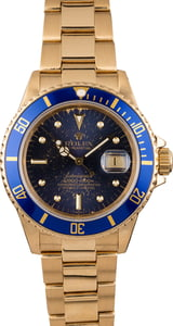 Rolex Submariner 16808 Yellow Gold Aged Blue Nipple Dial