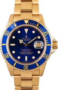 Rolex Submariner 16808 Yellow Gold Oyster
