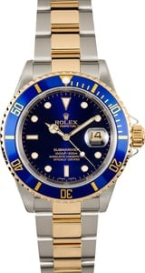 Rolex Submariner Blue 16613T 100% Authentic