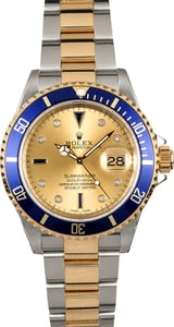 Rolex Submariner Blue Bezel 16613 Serti