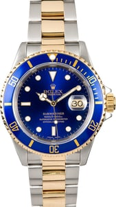 Rolex Submariner Two-Tone Blue Face 16613