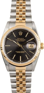 Rolex Two-Tone Datejust 16233 Black Tapestry