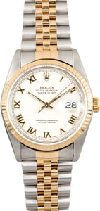 Rolex Two-Tone Datejust 16233 Ivory Roman Dial