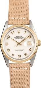 Rolex Two-Tone Datejust 16233 Leather Strap