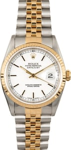 Rolex Two-Tone Datejust 16233 White Index Dial