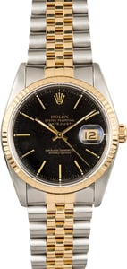 Rolex Two-Tone Datejust Black 16233 100% Authentic