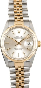 Rolex Two-Tone Datejust Silver Dial 16013