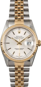 Rolex Two-Tone Datejust Watch 16233 Silver Dial