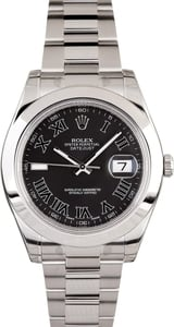 PreOwned Rolex Datejust 116300 Black Roman Dial