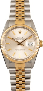 Pre-Owned Rolex Two-Tone Datejust 16013 Silver Dial