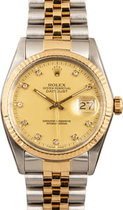 Rolex Datejust 16013 Champagne Diamond Dial