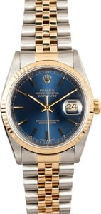 Rolex Two Tone Datejust 16233 Blue Index