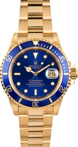 Pre-Owned Rolex Yellow Gold Submariner 16618