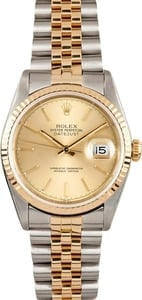 Men's Rolex Stainless and Gold DateJust 16233