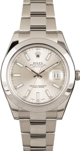 Pre Owned Rolex Datejust II Ref 116300 Silver Dial