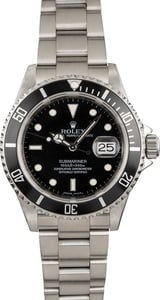 Pre Owned Submariner Rolex Stainless 16610 Serial Engraved