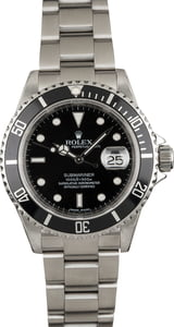 Pre Owned Submariner Rolex Steel 16610 Serial Engraved