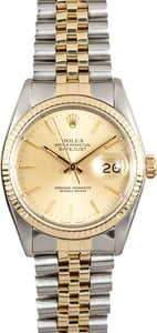 Two-Tone Rolex Datejust 16013 100% Authentic