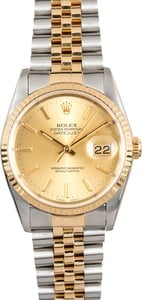 Two-Tone Rolex Datejust 16233 Champagne Oyster