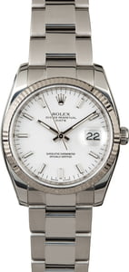 Rolex Date 115234 White Index Dial