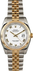 PreOwned Rolex DateJust 116233 Two Tone Jubilee White Roman Dial