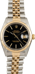 Used Rolex Datejust 16013 Black Dial Two Tone