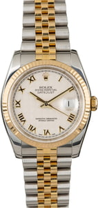 Used Rolex Datejust 116233 Ivory Pyramid Roman Dial