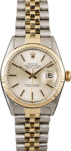 Used Rolex Datejust 16013 Silver Dial Two Tone