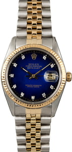 Pre-Owned Rolex Datejust 16013 Blue Vignette Diamond Dial