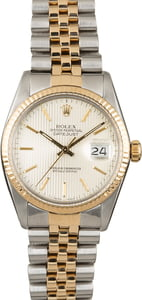 Used Rolex Datejust 16013 Silver Tapestry Index Dial