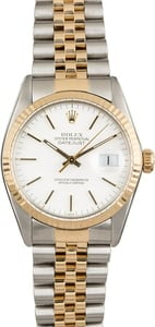 Rolex Datejust 16013 White Index Dial Two Tone Jubilee