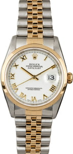 Used Rolex Datejust 16203 White Roman Dial