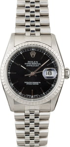Used Rolex Datejust 16220 Black Index Dial