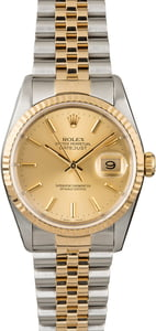Used Rolex Datejust 16233 Champagne Dial Two Tone Watch