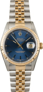 Used Rolex Datejust 16233 Blue Index Dial Two Tone