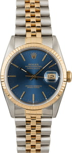 Certified Rolex Datejust 16233 Blue Index Dial
