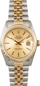 Used Rolex Datejust 16233 Champagne Tapestry Index Dial