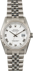 Used Rolex DateJust 16234 White Roman Dial