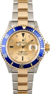 Used Rolex Submariner 16613 Serti Dial Two Tone Oyster