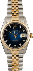 Used Rolex Datejust 16013 Blue Vignette Diamond Dial