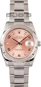 Pre-Owned Men's Rolex Date Stainless Diamond Dial 115234