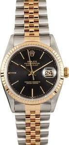 Rolex DateJust Stainless and Gold 16233 Black Tapestry
