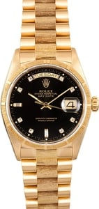 Rolex President Bark Finish Diamond Dial