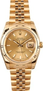 Unworn Rolex Datejust 116238 Yellow Gold Jubilee Band