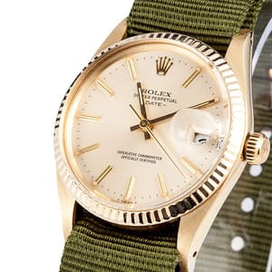 Men's Rolex Oyster Perpetual Date Yellow Gold 15037 Rivet Bracelet