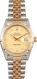 Rolex Datejust Champagne Diamond Dial 16013